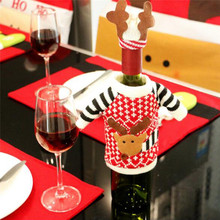 New 2Pcs Xmas Elk Pattern Wine Bottle Red Cover Bags Christmas Dinner Party Table Decoration Supplies