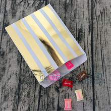 Free Shipping 50pcs Striped Paper Favor Bags Candy Buffet Bag Dessert Bar Goodie Packaging Wedding Bridal Shower Guest Favors(China)