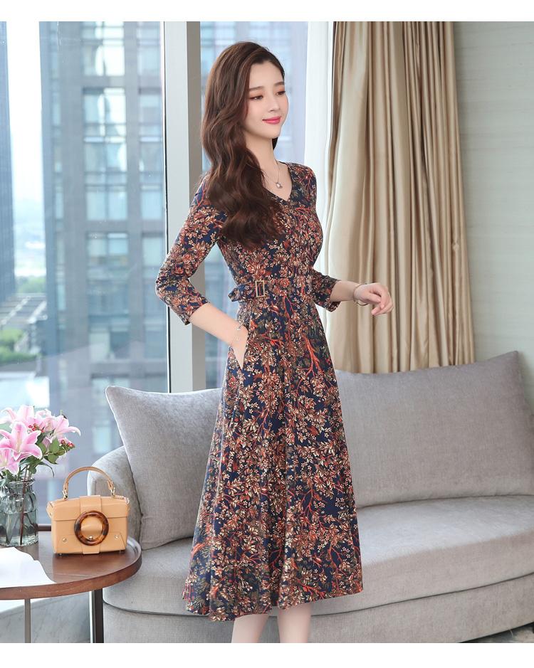 Autumn Winter New 3XL Plus Size Vintage Midi Dresses 2018 Women Elegant Bodycon Floral Dress Party Long Sleeve Runway Vestidos 34 Online shopping Bangladesh