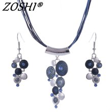ZOSHI Wedding Costume Jewelry Set Multilayer Ropes Chain Geometry Pendant Necklace Earring Sets For Women Boho Jeweley Sets(China)