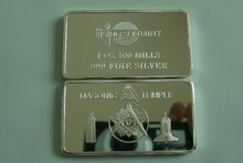 {Hot sale }Free shipping 1 TROY OZ 100 MILL .999 SILVER Masonic Temple Bar art collection