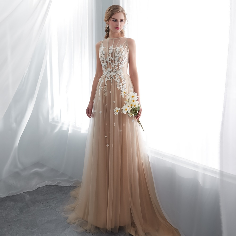 Buy Champagne Prom Dress Lace A-line Sleeveless Party Evening Gown