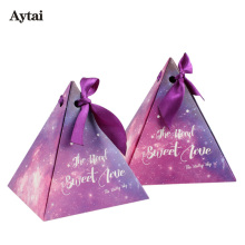 Aytai 100pcs Starry Sky Candy Box Wedding Gift for Guest Purple 2 Size Packaging Gift Boxes Gift Bags Wrapping Supplies