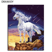 Top Quality Painting By Numbers Wall Art Home Decoration DIY Modern Oil Painting On Canvas Wall Art White Horse G153(China)