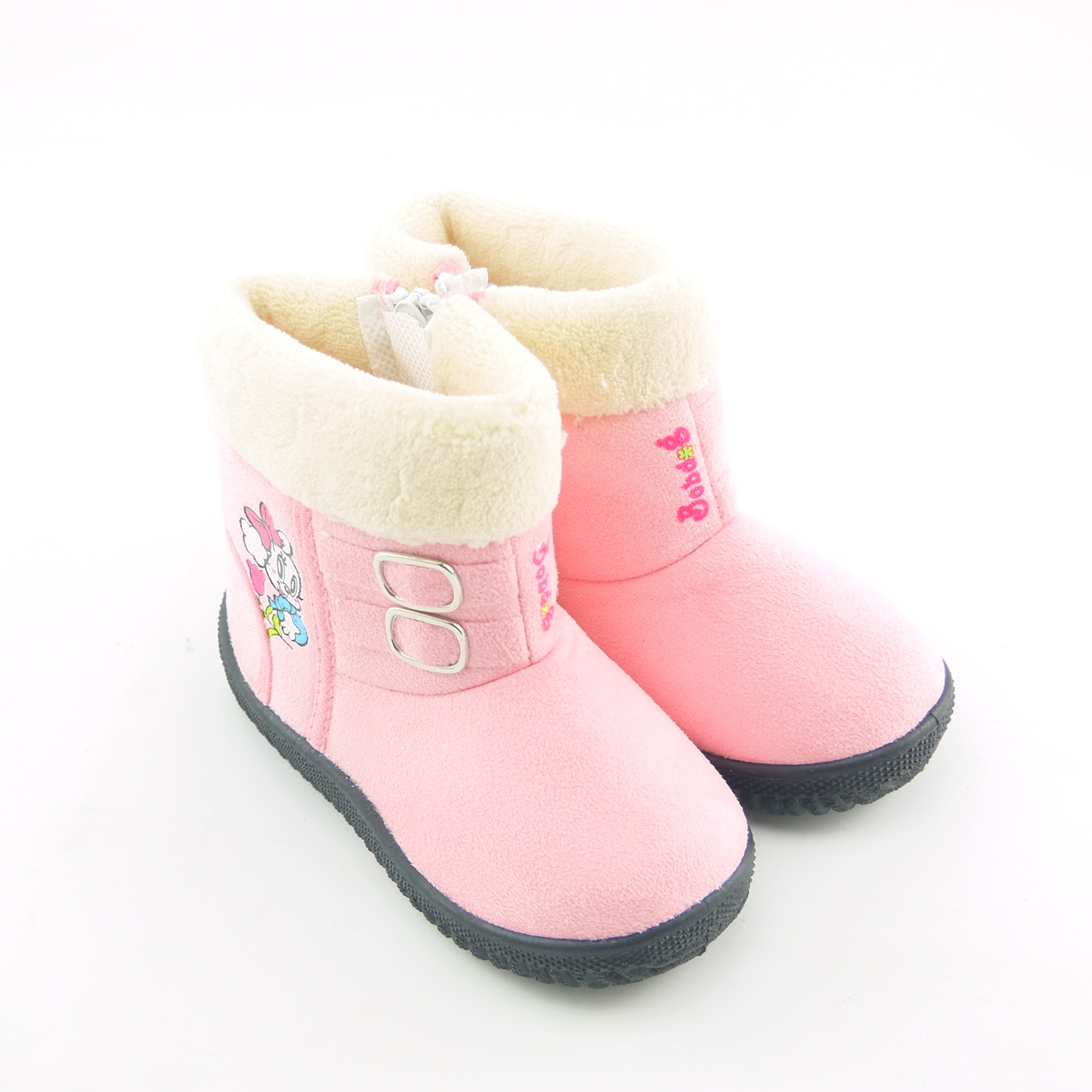 Kids Boys Winter Warm Fur Lined Ankle Boots Chelsea School Buckle Toddler Shoes