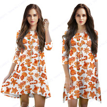 Orange Merry Christmas Women Dresses Christmas Ornament Print Dress Three Quarter Sleeved Winter Dress Knee-Length Tennis Dress