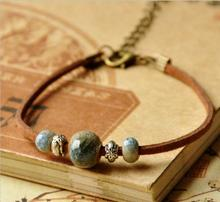 Free shipping! Vintage female cute manual metal flower round beads Mermaid tears bracelet coffee leather tension mount bangle(China)