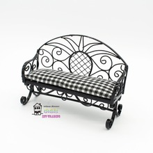 "2017 NEW 4.13"" Dolls furniture 1:12 Doll house miniature Black bench Garden lounge chair Outdoor scene accessory"