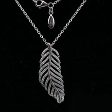 2017 new fashion necklace really s925 sterling silver feather necklace fit party DIY support wholesale(China)