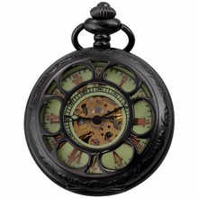 Roman Numerals Steampunk Movement Mechanical Pocket Watch Hunter Hollow Green Face + Long Chain Hand Winding Gift Clock / WPK224