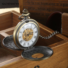 2016 Vintage Hollow Carving Analog Steampunk Mechanical Half Hunter Watch Roman Num Waist Chain 2 Side Men's Pocket Watches P403