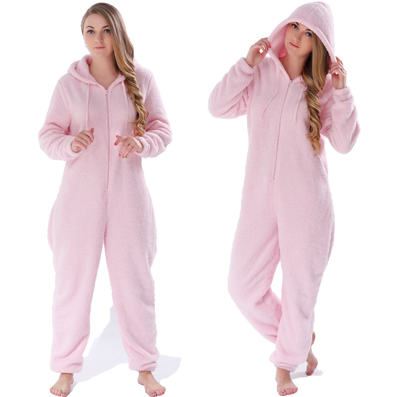 Winter Warm Pajamas, Women's Sleepwear Fleece Pajamas Set, Lounge Hooded Pajamas 6