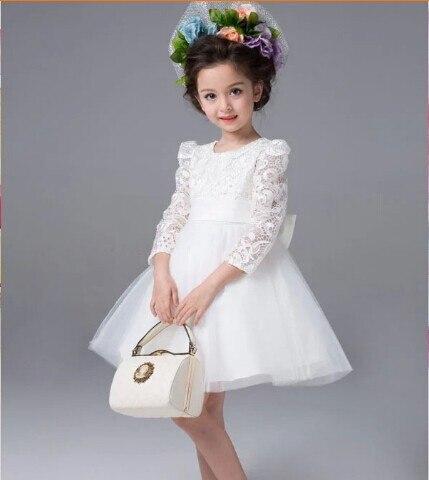 Kids Lace Princess Girl Communion Dress Baby Long-sleeved Bridesmaid Wedding Party Birthday Elegant White Big Bow Girls Dress<br><br>Aliexpress