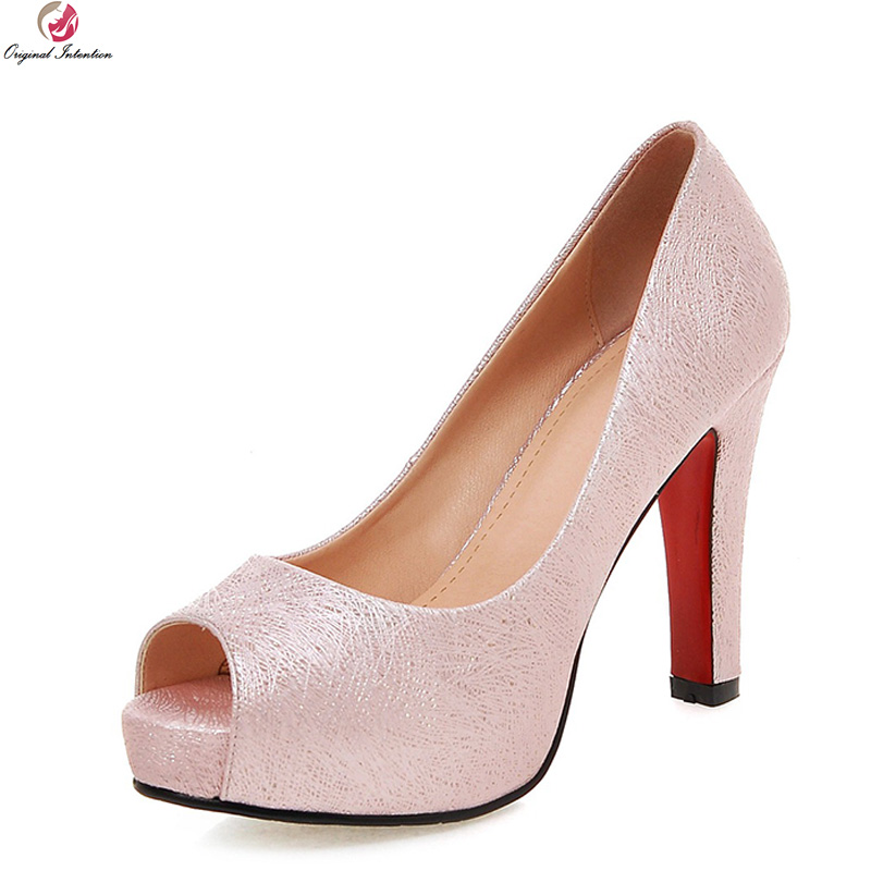 Original Intention Elegant Women Pumps Nice Peep Toe High Heels Pumps High-qulaity Pink White Beige Shoes Woman US Size 4-10.5<br>