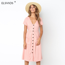 Buy ELSVIOS Women Summer short sleeve botton dress elegant sexy deep v neck Empire dresses solid color knee length pocket dress for $12.80 in AliExpress store
