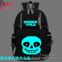 Free shipping Undertale cos sans Skeleton brother Cartoon printing Canvas backpack fashion leisure Luminous game bags schoolbag