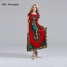 Fashion Brand Mr Hunkle Women's Bohemian Dashiki Dress Slash Neck African Print Dresses for Women African Vestidos Red Cotton(China)
