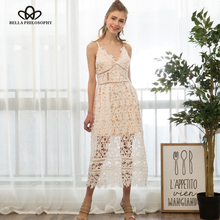 Bella Philosophy 2017 spring summer lace dress hollow out cami long dress light brown white party dress(China)
