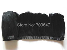 Feather Trim,5Meters/lot!- BLACK Goose Feather Trim Fringe 8-9cm height freeshipping(China)