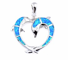 2017 Summer Edition Ocean Theme Heart Shaped Dolphin Pendant Necklace Free Epacket Dropshipping(China)