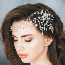 Cute Romantic Flower Wedding Headbands Beaded Pearl Hair Pieces Crystal Leaf Head Jewelry Bridal Pageant Hair Accessories(China)