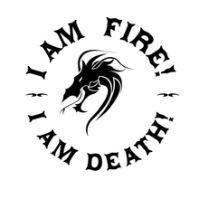 14cm*14cm I Am Fire Death Fashion Dragon Vinyl Car Styling Stickers Decals S4-0071
