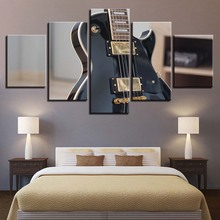 Canvas Paintings Wall Art HD Prints Poster 5 Pieces Rock Electric Guitar Musical Instrument Pictures For Living Room Home Decor(China)