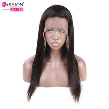 Fashion Leader Straight Full Lace Frontal Human Hair Wigs With Baby Hair Non-Remy Brazilian Hair Full Lace Wigs For Black Women(China)