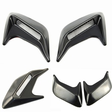 Universal Car sticker 2pcs Car Auto Side Vent Air Flow Fender Intake Sticker Black Silver Decorative car Styling