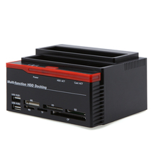 "All In 1 HDD Docking Station External HDD Box 2.5"" 3.5"" IDE Two SATA USB2.0 Card Reader External Storage Enclosure for Computer(China)"