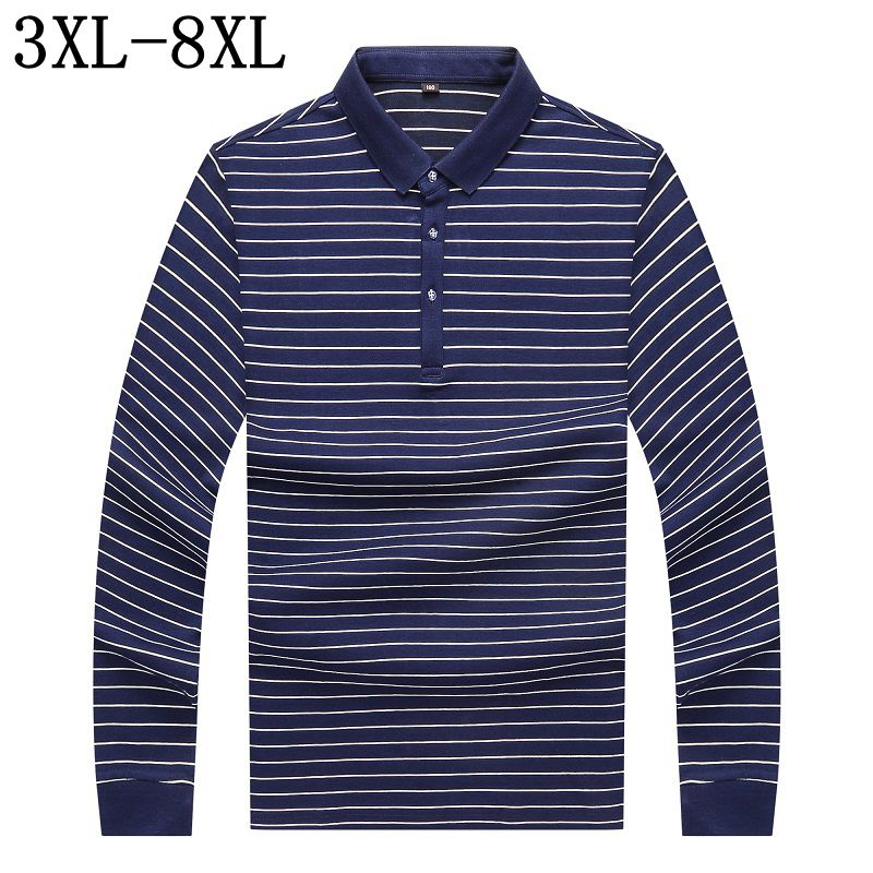 2017 Autumn New Men's Brand Polo Shirt Business Casual Striped Long Sleeves POLO Shirt Plus Size 5XL 6XL 7XL