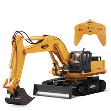 Huina Toys 1510 11 Channel 6ch 1/12 Rc Metal Excavator Remote Control Toys With Charging Battery Kids Toys Christmas Gifts(China)