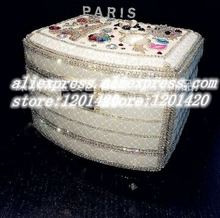 Luxury jewelry boxes /sparkly crystal charms eiffel tower owl flower jewellery storage boxes/unqiue princess jewel box