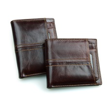 Nesitu Vintage Chocolate Color Real Skin Genuine Leather Men Wallets Cowhide Man Purse Credit Card Holder #M8107