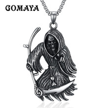 GOMAYA Mens Devil Skull Cool Necklace Trendy Vintage Necklace for Man Large Vampire Gothic Bat Pendant Necklace Titanium Collier(China)