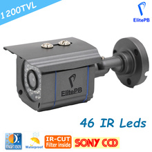 ElitePB SONY CCD 1200TVL High resolution CCTV Camera IR Cut 46 Leds Day/Night Vision Waterproof Outdoor Bullet Surveillance