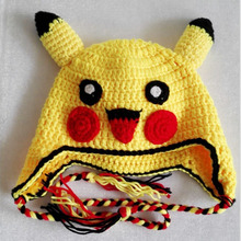 New Kawaii Pikachu Hat Kids Funny Baby Beanies Ear Hold Cotton Knitted Crochet Hats & Caps Children Winter Hot Anime Pikachu Hat(China)