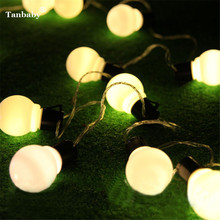 Tanbaby  5CM Big Ball LED String Light Christmas 2.5M 5M 10M Globe Balloons Fairy String Garland Outdoor New Year Starry Light