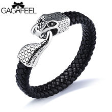 GAGAFEEL Snake Head Bracelet silver men jewelry Punk Personality Men's Stainless Steel Leather Bracelet Charm Tide Hand Jewelry(China)