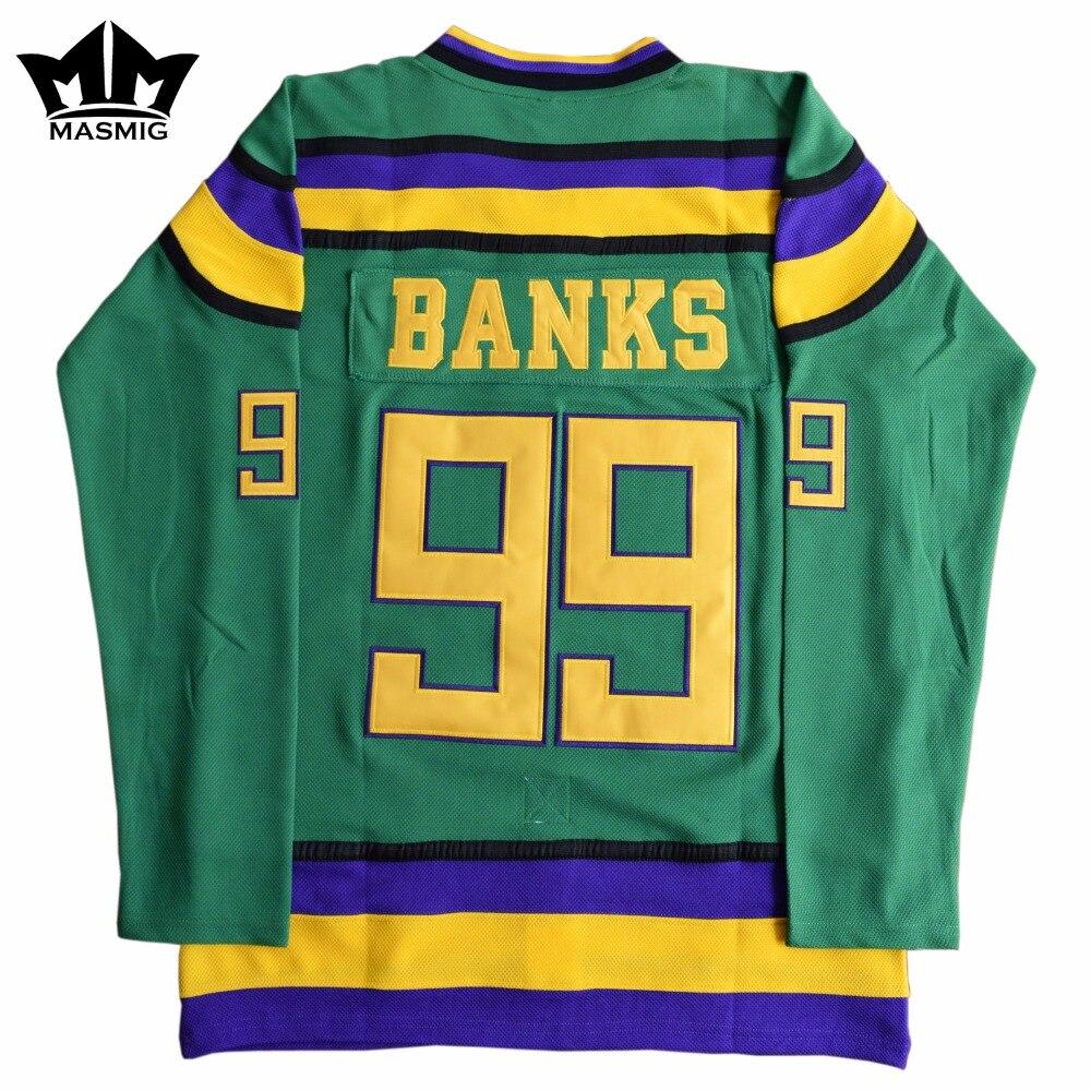 MM MASMIG Mighty Ducks #99 Adam Banks Movie Hockey Jersey Green For Free Shipping S M L XL XXL XXXL<br>