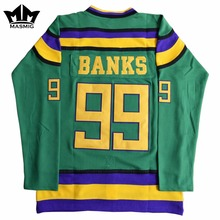 MM MASMIG Mighty Ducks #99 Adam Banks Movie Hockey Jersey Green For Free Shipping S M L XL XXL XXXL(China)
