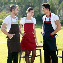 Korean fashion cooking bib aprons men and women kitchen work apron coffee tea shop overalls restaurant chef aprons print logo