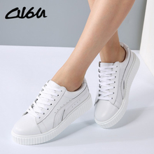 O16U Women Sneakers White Leather Creepers Shoes Round Toe Lace up Ladies Fashion White Flats Women Platform Casual Flats Shoes(China)