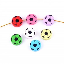 Free shipping 20pcs Hot New Random Mixed Multicolor Cute Round Football Wood Beads Jewelry Accessories DIY Craft 20mm