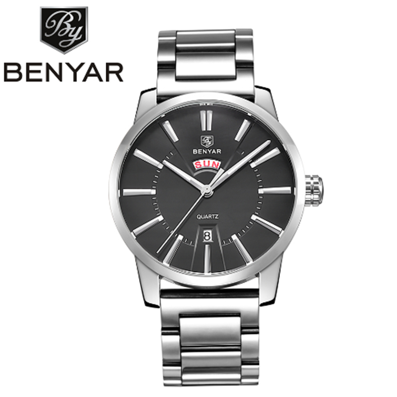 BENYAR Mens Watch Luxury Business Quartz Calendar Waterproof Stainless Steel Watch<br>