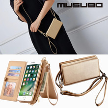 Musubo For iPhone 7 Plus Case Wallet Leather Detachable Flip Purse Case For iPhone 7 Cover Case Girl Multifunction Pouch Handbag(China)