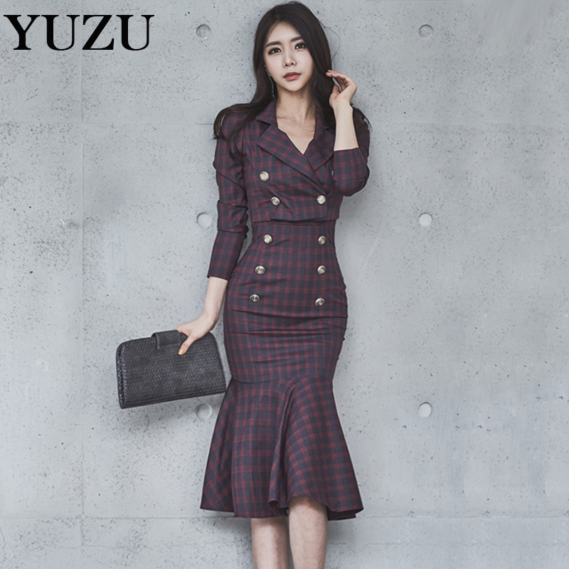 2 Piece Set Office Lady 2017 Winter Purple Plaid Jacket Double Breasted Knee-Length Mermaid Skirt Long Sleeve British Style Set(China)