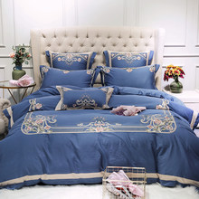 Home Textile blue egyptian cotton Bed Linens 4/7pcs Bedding Sets Bed Set Duvet Cover Bed Sheet Embroidery Cover Set(China)