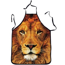 3D Funny Aprons Animals lion Pattern Kitchen Apron Dinner Party Cooking Apron Cozinha Tablier Cuisine Pinafore Adult  Children