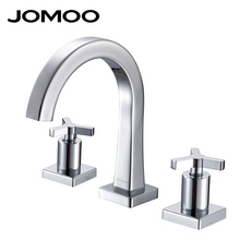 JOMOO Brass Chrome Fission Basin Faucet Two handle Three Holes Bathroom faucet With Cross Handl European-style Water Mixer Tap(China)